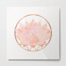Blush Zen Lotus ~ Metallic Accents Metal Print
