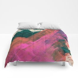 Expand [2]: a colorful, minimal abstract piece in pinks, green, and blue Comforters