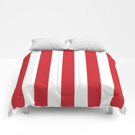 Fire engine red - solid color - white vertical lines pattern Comforters