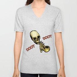 Doot Doot Mr Skeletal Skull Trumpet Meme Unisex V-Neck