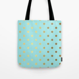 Gold polka dots on aqua background - Luxury turquoise pattern Tote Bag