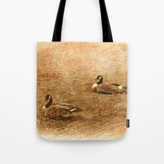 vintage style photography, two ducks on the park grass. Tote Bag