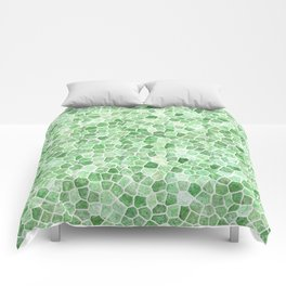 Pale Emerald and Pistachio Cobbled Patchwork Comforters