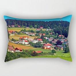 Green grass, the village and a transmitter pole Rectangular Pillow