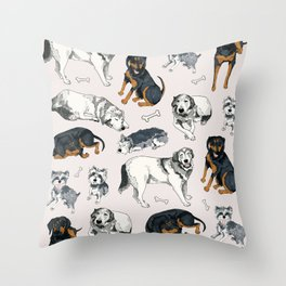 Puppies and Bones Throw Pillow