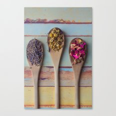Three Beauties, Floral and Wooden Spoon Canvas Print