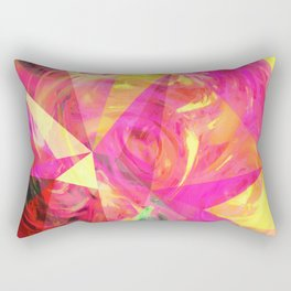 psychedelic geometric triangle polygon pattern abstract in pink and yellow Rectangular Pillow