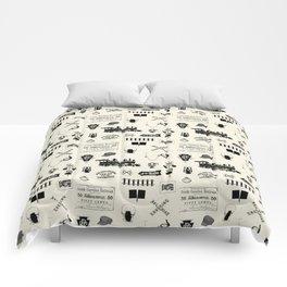 Railroad Symbols // Beige Comforters