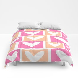 Custom Geographic Multicolor Peach and Pink Pattern Comforters