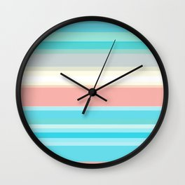 On the beach, Mexican inspired, striped pattern, pastel colors. Wall Clock