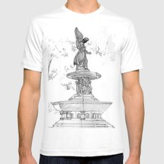 Belvedere Fountain, Central Park, NY MEDIUM White Mens Fitted Tee