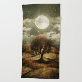 Once upon a time... The lone tree. Beach Towel