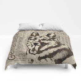 German Shepherd Dog - Wooden Texture  on Canvas Comforters