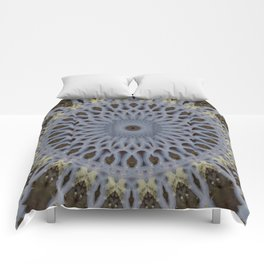 Detailed mandala in grey and brown tones Comforters