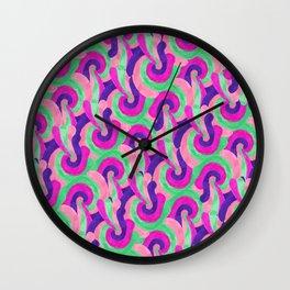 Retro Pink Purple Teal Painted Swirl Pattern Wall Clock