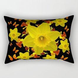Decorative Black Design Butterflies Yellow Daffodils Rectangular Pillow