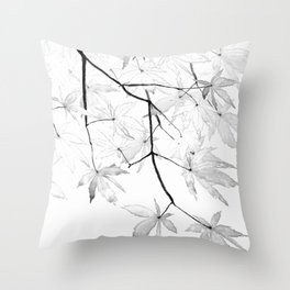 black and white maple leaves Throw Pillow