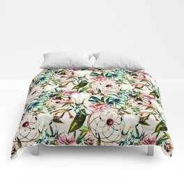 Bohemian Skull Pattern Flowery Vibrant Colors Comforters