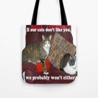 meme Tote Bags featuring Cat Meme by Frankie Cat