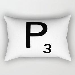 Letter P - Custom Scrabble Letter Tile Art - Scrabble P Initial Rectangular Pillow