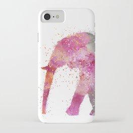 Artsy watercolor Elephant bright orange pink colors iPhone Case