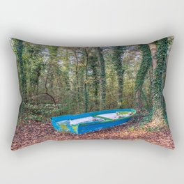 Old blue and green boat abandoned aground in a forest in a natural park Rectangular Pillow