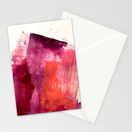 Blushing: a vibrant, minimal abstract in purple, pink, and red Stationery Cards