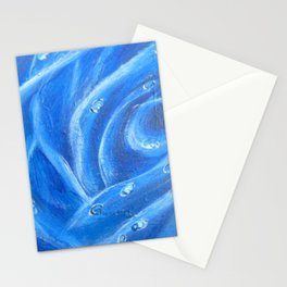 Waterdrops on Blue Rose Stationery Cards