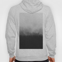 Moody Black and White Minimalist Pine Forest Foggy Misty Trees Hoody
