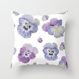 Watercolor Pansy Pattern Throw Pillow