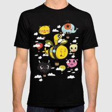 Happy Flight / The Animals Hot Air Balloon Voyagers / Patterns / Clouds Mens Fitted Tee MEDIUM Black