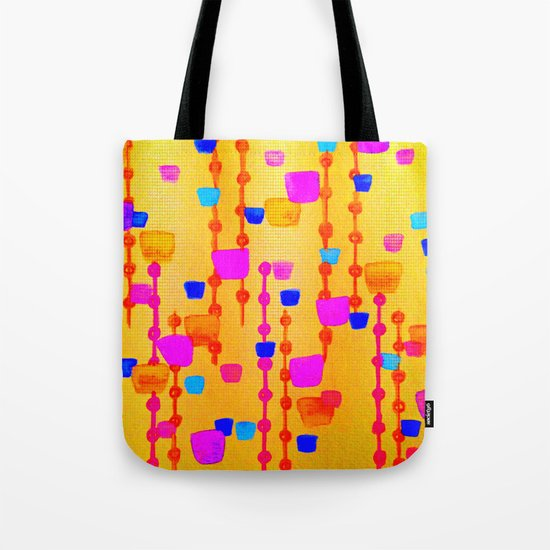 POLKA DOT MATRIX - Bright Bold Cheerful Dotty Geometric Squares Circles Abstract Watercolor Painting Tote Bag