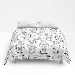 Vintage Bottle Collection Illustrated Repeat Pattern Print Comforters