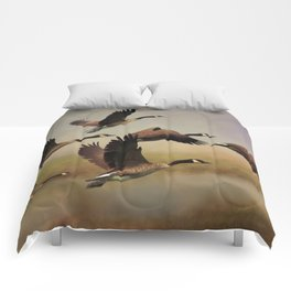 Geese On A Foggy Morning Comforters