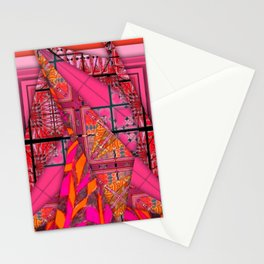 number 232 orange pink pattern Stationery Cards