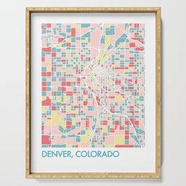 Denver Colorado Colorful Mosaic Map Serving Tray