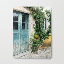 Portuguese door, weathered wood. Plantlife all around Metal Print