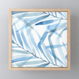 Bold Blue Palm Leaves Framed Mini Art Print
