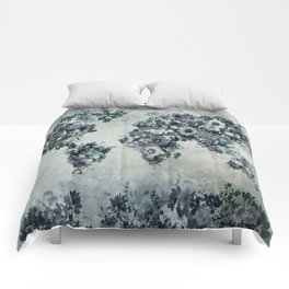 floral world map 2 Comforters
