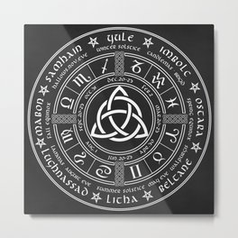 Triquetra Pagan Wheel Of The Year Metal Print