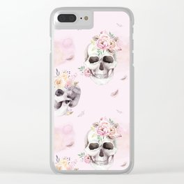 Floral Skull Pattern Clear iPhone Case