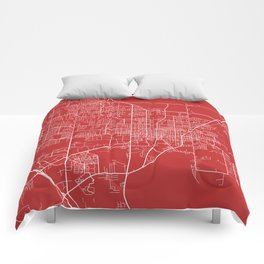 Gainesville Map, USA - Red Comforters