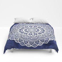 Deep Ocean Blue Mandala - LaurensColour Comforters