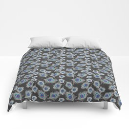 Silver Gray / Grey Peacock Feathers on Dark Gray Comforters