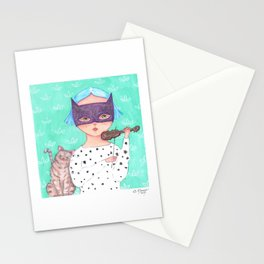 Cat Lady and the Tiny Violin Stationery Cards