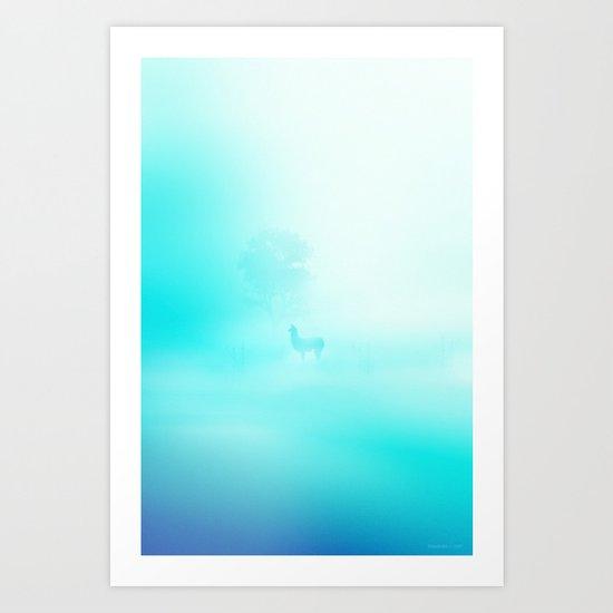 Llama. Creatures in the mist. Art Print