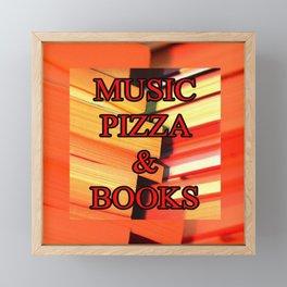 Music Pizza & Books Framed Mini Art Print