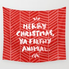 Merry Christmas, Ya Filthy Animal – Red Wall Tapestry