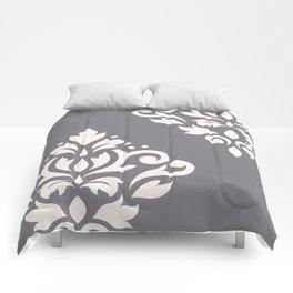 Scroll Damask Art I Cream on Grey Comforters