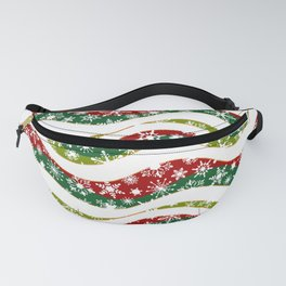 Christmas waves and snowflakes Fanny Pack